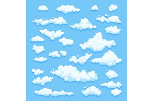 Set of Clouds on blue sky. Vector