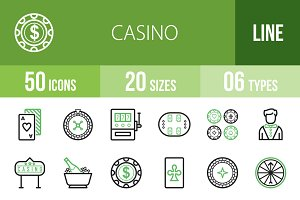 50 Casino Line Green & Black Icons