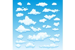 Cartoon Clouds Set On Blue Sky