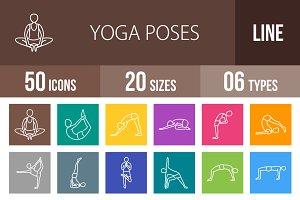 50 Yoga Line Multicolor Icons