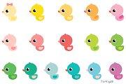 Cute rubber ducks clipart