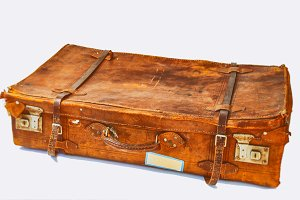 Old leather suitcase