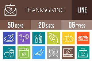 50 Thanksgving Line Multicolor Icons