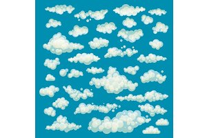 Set of blue sky, clouds. vector