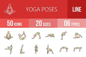 50 Yoga Line Filled Icons