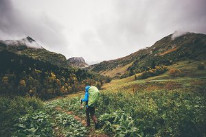 Backpacker hiking Travel