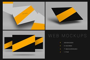 3 Web Presentation Mock-Up Set