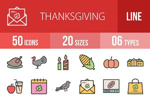 50 Thanksgiving Line Filled Icons