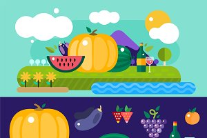 Harvest fruits and vegetables vector