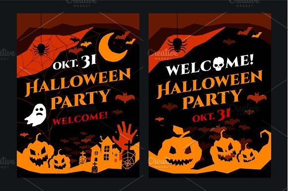 Halloween party flyer card vector