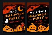 Halloween party flyer card vector