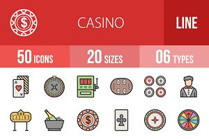 50 Casino Line Filled Icons