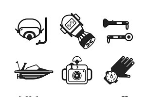 Diving flat iconset