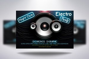 Electro Party Flyer + Facebook Cover