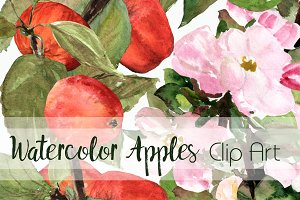 Watercolor Apples ClipArt Collection