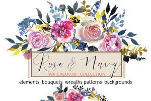 Watercolor Roses Peonies Clipart