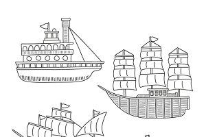 Doodle boats & ships set
