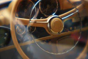 Blurry yellow wheel vintage car
