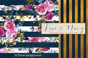 Purple & Navy Floral Stripped Paper