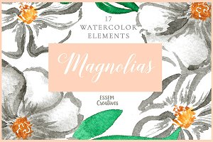White Watercolor Florals Bundle
