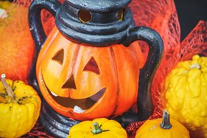 Halloween pumpkin with decoration #6