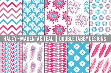 Magenta, purple, and teal Patterns