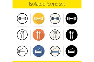 Healthy lifestyle. 12 icons. Vector