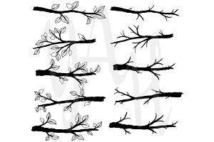 Branch Silhouettes with Leave