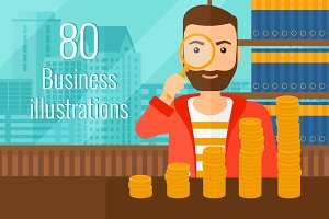 80 Flat business illustration bundle