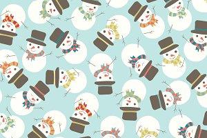 Snowman Party Seamless Pattern