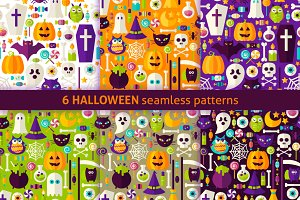Halloween Flat Seamless Patterns