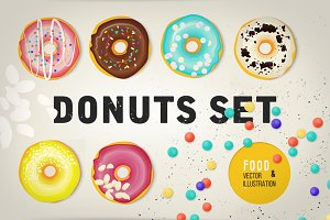 Vector set of glazed colored donuts.