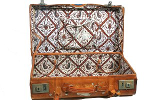Open vintage leather suitcase