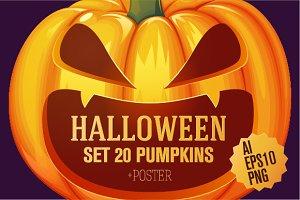 Set 20 pumpkins for Halloween