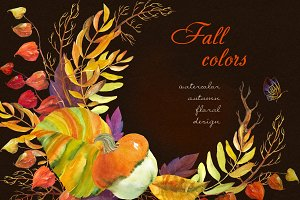 Fall colors. Watercolor collection.