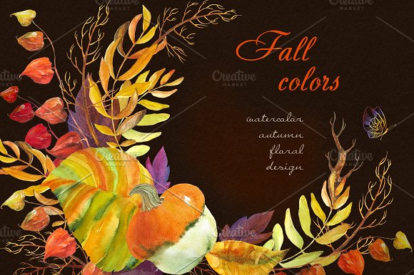 Fall colors. Watercolor collection. - Illustrations