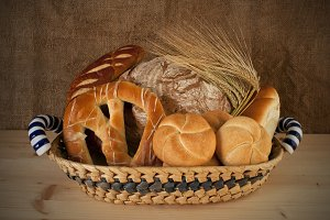 A basket full of bakery products