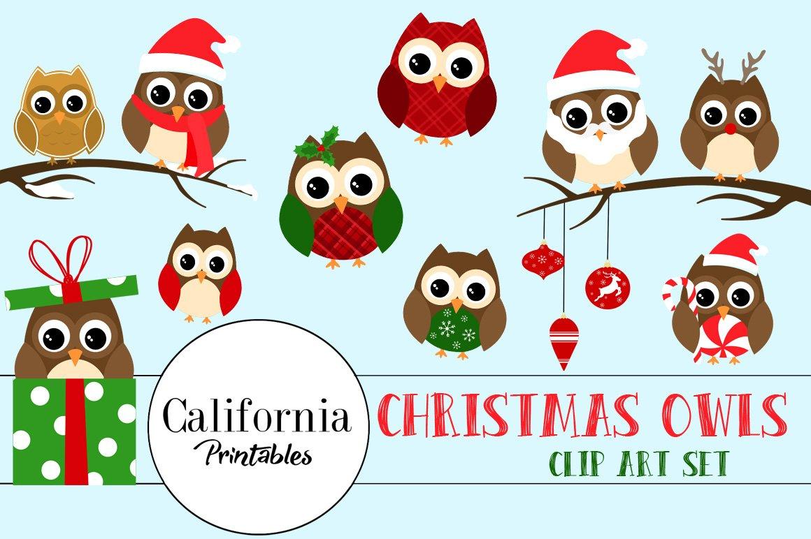 christmas owl clipart illustrations creative market - Owl Christmas