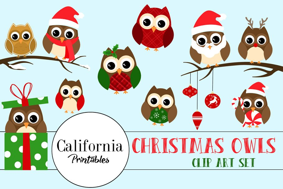 Christmas Owl.Christmas Owl Clipart