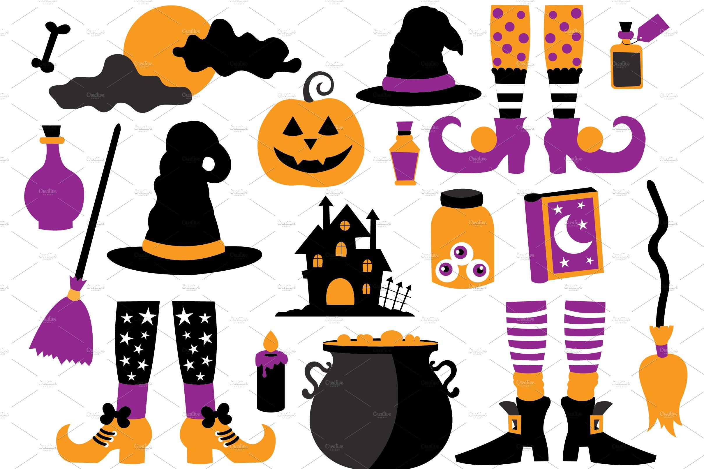 Halloween Witch Clipart Set ~ Illustrations ~ Creative Market