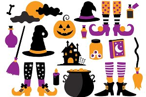 Halloween Witch Clipart Set