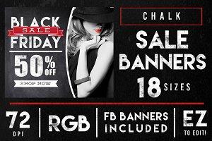 Chalk Black Friday Sales Banner Ads