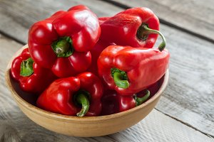 Set Of Red Bell Peppers