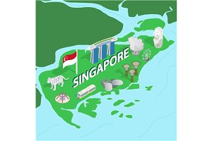 Singapore map, isometric 3d style