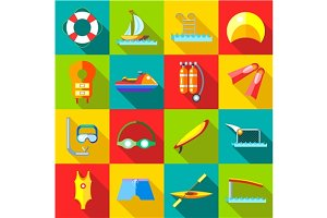 Water sports icons set in flat style
