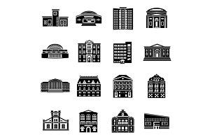 Public buildings icons set