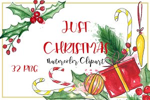 Just Christmas. Watercolor clipart.