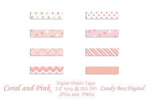 Coral and Pink Digital Washi Tape