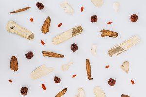 Chinese Herbs Flatlay - Styled