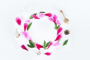 Peony petals boho wreath. Hero image